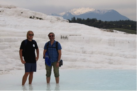 Sean & Richard visiting the travertine terraces at Pammukale, Turkey. It looks like snow but it's actually calcium carbonate