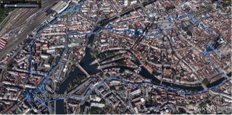 Sonia's walk through Strasbourg tracked by GPS